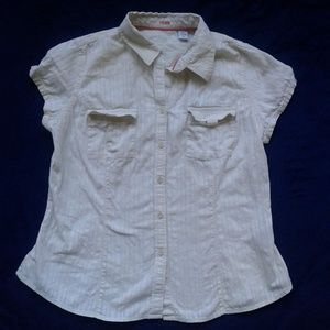 Izod Shirt Short Sleeve Button Down Ivory Petite M